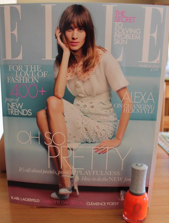 orange nail polish and elle uk magazina